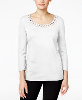 Karen Scott Petite Embellished Knit Top, Only at Macy's