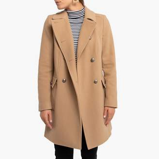 Naf Naf Wool/Cashmere Mix Double-Breasted Coat with Pockets