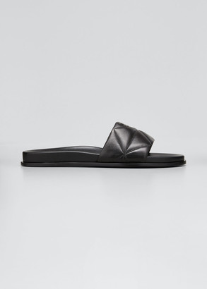 Prada Quilted Leather Pool Sandals