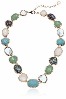 Anne Klein Women's 16 Inch Stone Collar Gold Choker Necklace