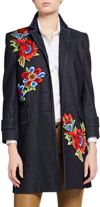 Carolina Herrera Floral Embroidered 3/4-Sleeve Denim Coat