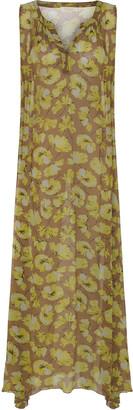 Rabens Saloner - Cognac and Lime Viscose Kiki Flower Print Dress - XS - Yellow/Copper