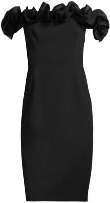 Aidan Mattox Off-The-Shoulder Ruffle Dress