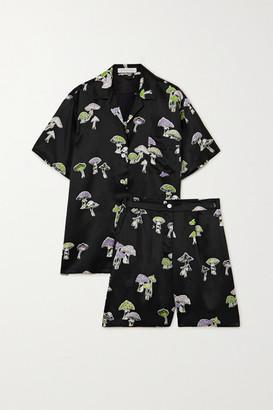 Olivia von Halle Emeli Printed Silk-satin Pajama Set - Black