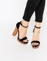 Lipsy Bella Black Clog Platform Heeled Sandals