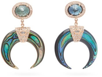 Jacquie Aiche Diamond & Labradorite Rose-gold Drop Earrings - Womens - Blue