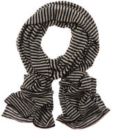 Portolano Women's Black & Light Grey Lightweight Cashmere Scarf