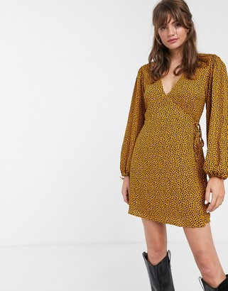 Glamorous volume sleeve wrap dress in dalmatian spot