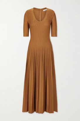 CASASOLA Net Sustain Eva Ribbed Stretch-knit Midi Dress - Copper