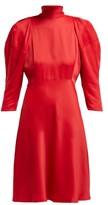 KHAITE Marina Puffed-sleeve High-neck Crepe Dress - Womens - Red