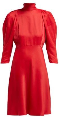 KHAITE Marina Puff-sleeved High-neck Crepe Dress - Womens - Red