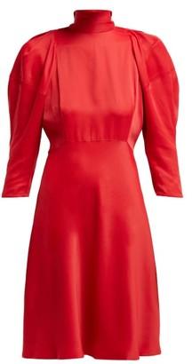 KHAITE Marina Puffed Sleeve High Neck Crepe Dress - Womens - Red