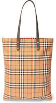 Burberry Leather-Trimmed Checked Gabardine Tote Bag