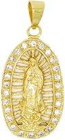 Mia 14kt GP Virgin Mary Guadalupe White CZ Pendant - Dije Virgen De Guadalupe CZ Blancas