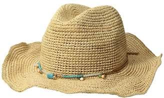 San Diego Hat Company RHC1090OS Crochet Raffia w/ Beaded Trim and Faux Suede Tie (Natural) Caps
