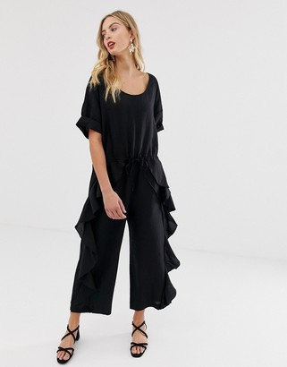 French Connection Dae frill leg jumpsuit-Black