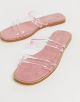 Truffle Collection clear strap slip on flat sandals