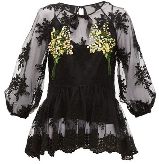 Romance Was Born Mimosa Floral-embroidered Tulle Top - Womens - Black