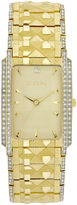 Elgin Mens Gold-Tone & Crystal-Accent Rectangular Watch