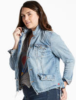 Lucky Brand Plus Size Denim Trucker Jacket With Seaming Detail
