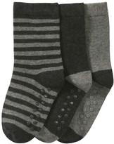 Joe Fresh Toddler Boys' 3 Pack Socks, Dark Charcoal Mix (Size 1-3)