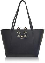 Charlotte Olympia Mini Feline Black Embossed Leather Shopper