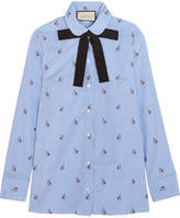 Gucci Bow-embellished Embroidered Striped Cotton Shirt - Sky blue
