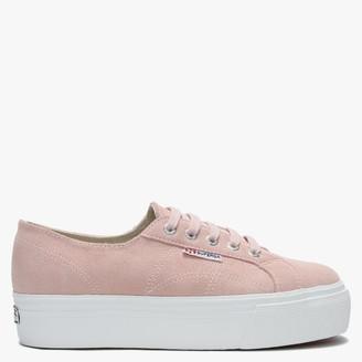 Superga 2790 Pink Suede Flatform Trainers