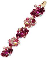 Betsey Johnson Gold-Tone Pink Stone & Flower Cluster Flex Bracelet