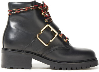 Sandro Buckled Leather Ankle Boots