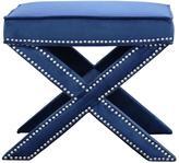 Abbyson Living Evelyn Nailhead Trim Bench Ottoman - Navy Blue