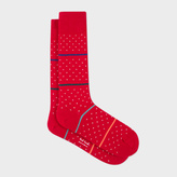 Paul Smith Men's Red Fleur-De-Lis Socks With Stripes