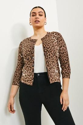 Karen Millen Curve Leopard Print Knitted Cardigan