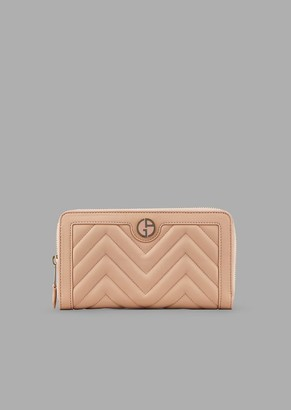 Giorgio Armani Quilted Nappa Leather Wallet With Zipper And Enameled Logo