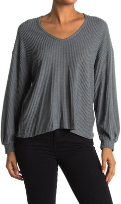 Lush Scoop Neck Balloon Sleeve Thermal Top
