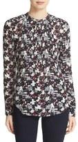 Veronica Beard Women's 'Goldie' Floral Print Pintuck Silk Blouse