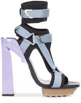 Versace t-bar platform sandals - women - Leather/Nylon/rubber - 36.5