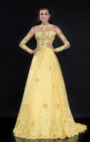 Tarik Ediz Appliqued Tulle Gown 92540