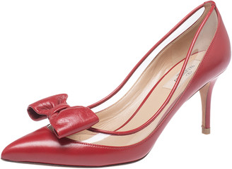 Valentino Red Leather And PVC Dollybow Pointed Toe Pumps Size 39