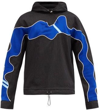 Ahluwalia Pinstriped Upcycled Cotton-blend Hooded Sweatshirt - Black Blue