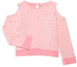 Design History Little Girl's Cold-Shoulder Dotted Sweatshirt