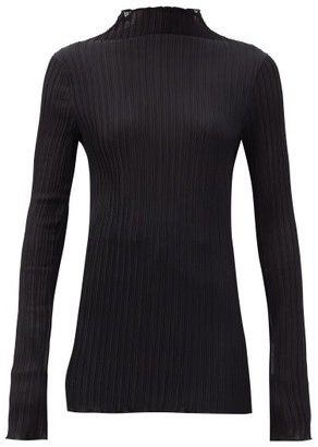 Jil Sander Funnel-neck Plisse-jersey Top - Black