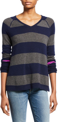LISA TODD Petite Hype Multi-Stripe V-Neck Cashmere Sweater w/ Pop Color Sleeve
