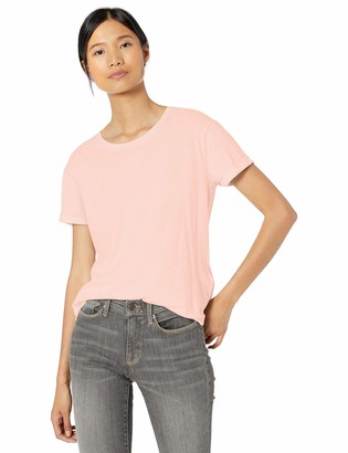 Goodthreads Washed Jersey Cotton Roll-Sleeve Open Crewneck T-Shirt Soft Pink