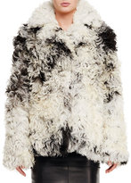 Tom Ford Curly Shearling Fur Coat, Black/Chalk