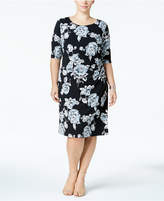 Connected Plus Size Gathered-Side Sheath Dress