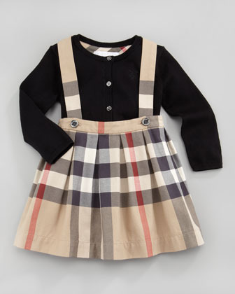 Burberry Toddler Girl's Check Shoulder-Strap Skirt, New Classic