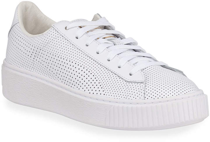wholesale dealer f0e20 7f529 Basket Low-Top Perforated Leather Platform Sneakers