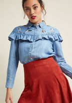 Miss Patina Calico Concerto Button-Up Top in S