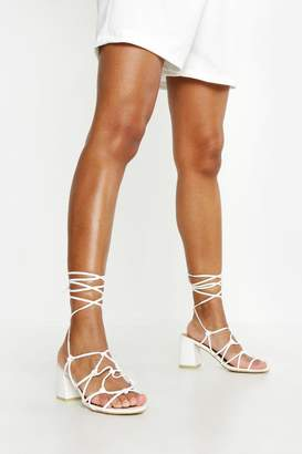 boohoo Caged Wrap Strap Low Block Heels
